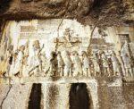 8/30 - Rotsreliëf met Darius I en gevangen genomen rivalen, langs koningsweg bij Bisotun (5de eeuw v. Chr.)
