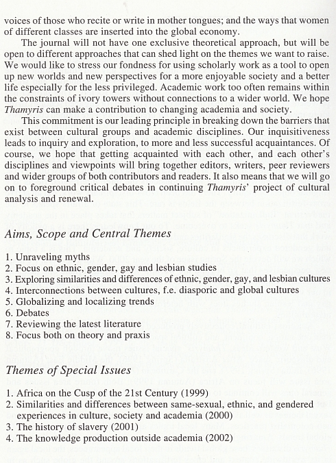 Mission Statement Thamyris Vol.6, No. 1 - 1999, pagina 2