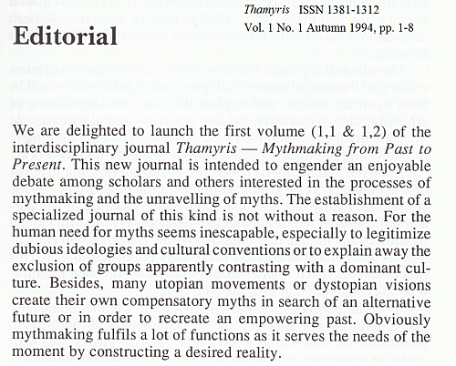 Editorial Thamyris Vol.1, No. 1 - 1994, pagina 1