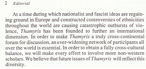 Editorial Thamyris Vol.1, No. 1 - 1994, pagina 2